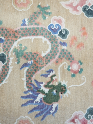 Tibetan Khaden Rug   Dating to circa 1970 and in superb, original condition. Featuring asimple, elegant design which has been well drawn in wonderful pastel tones.    Tibetan carpets were only made in a few formats  ...