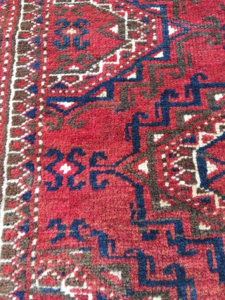 Tekke weding rug or seating rug with Saryk gol. Good natural colors, unfrequently encountered design. Nice example because of the amount of natural undyed brown wool. Both elems differ. Very soft wool.  ...