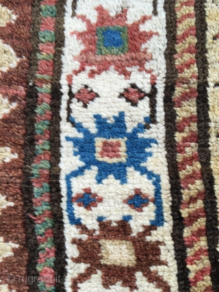 Moghan Kazak with unusual single row of Memling guls. Excellent pile (black corroded). Fat wool, supple weave. Many unusual quirks, free 'feeling' in the drawing and coloring. One old repair, well matched.  ...
