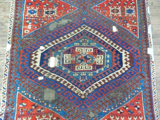 Antique West Anatolian Bergama Karakecili Fragment Rug mid 18th C.