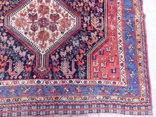 Antique Qashqaii Khamse Rug