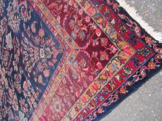 "rare blue field antique lillihan sarouk rug measuring 8' 10"" x 12' 6"" good condition some worn area solid rug no holes no dry rot clean no pets and no smoke 975.00  ..."