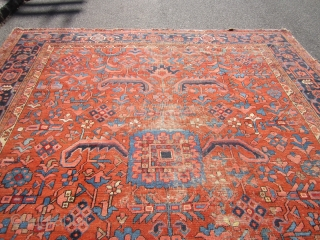 "antique 1890 heriz rug measuring 10' 5"" x 11' 8"" great colors and design solid rug no dry rot no stains worn selvage one on each side some wear as shown no  ..."