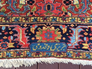 "authentic signed persian heriz rug measures 5' 7"" x 8' 9"" great rare size beautiful colors great condition minor surface wear in the middle and few minor moth bite on the side  ..."