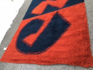 """Most gorgeous mid century vintage Panton Rya rug with rare color as shown navy and burned orange measuring room size of 7' 7"""" x 11' 4"""". This rug is from one smoke  ..."""