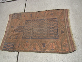"""antique rare baluchi prayer rug 35"""" x 53"""" condition as shown no dry rot or stain clean wear any questions please ask"""