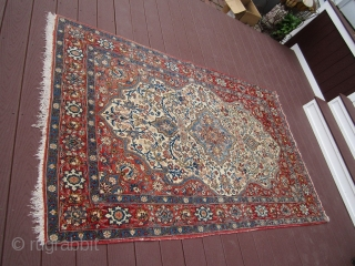 "very nice semi-antique persian tabriz rug measuring 4' 7"" x 7' 3"" great quality even pile not worn some fading great piece very reasonable very clean.685.00 plus shipping"