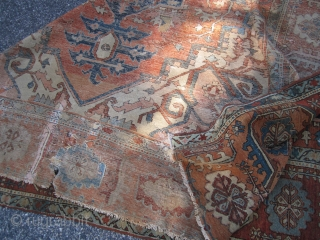 """antique persian heriz serapi measuring 8' 3"""" x 11' 6"""" no pets no smoke no dry rot in very poor condition with lots of old repair cuts tear  as found being  ..."""