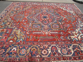 """antique serapi squarish heriz rug 10' 2"""" x 10' 6"""" good colors clean some scattered wear throughout nothing major few old repair solid rug very floppy ready to go everything sells here  ..."""