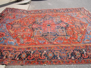 """antique karaja heriz oriental rug measuring 7' 11"""" x 11' great condition couple of minor issue as shown solid rug great even low pile  clean no pets and no stain 2300  ..."""