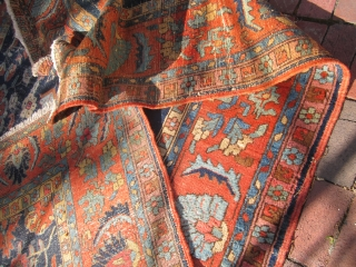 """heriz rug measuring 7' 2"""" x 10' 5"""" good colors worn area and repair and one patch as shown no dry rot no pets $625 plus shipping SOLDDDDDDDDDDDDDDDDDDDDDDD"""