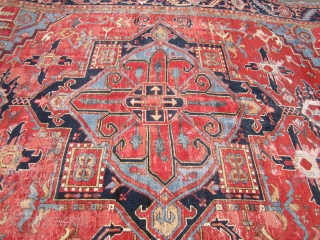 """antique heriz serapi karaja rug measuring 10' 5"""" x 13' 7"""" nice colors very clean area of repiling and wear both ends and sides are good solid rug good size  everything  ..."""