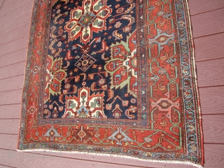 "great antique karajeh karaja rug measuring very good size of 4' 10"" x 6' 7"" very good condition even low pile nice border design rare drawing.SOLD THANKS"