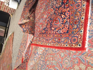 "estate fresh antique persian kashan rug measuring 8' 10"" x 11' velvet like feeling pile all around excellent even dense pile not your typical kashan if you dont like it send it  ..."