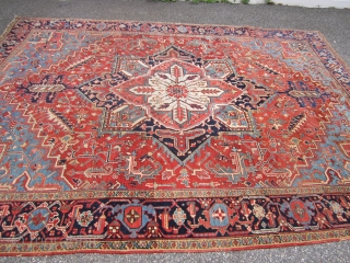 "great antique heriz rug measuring 8' 8"" x 11' 6"" solid rug some wear nothing major ends need to be secured great colors no pets and no smoke great value everything sells  ..."