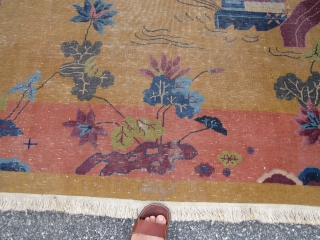 "9' x 11' 7"" antique chinese art deco rug beautiful colors solid rug has wear as shown no hole little moth at one end designer dream needs cleaning cheap money 395.00 plus  ..."
