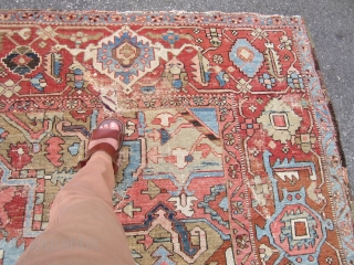 great serapi heriz  karaja 10 x 13 rug solid rug no dry rot very floppy  clean area of wear and one repair beautiful soft colors can send more pictures if  ...
