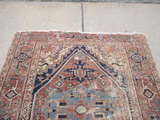 """antique squarish serapi rug 4' 10"""" x 5' 7"""" poor condition no dry rot"""