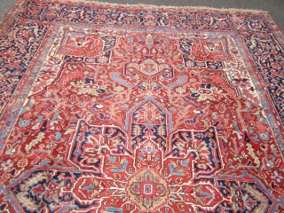 "estate antique heriz serapi(SOLD SOLD) 9' x 12' 8"" super rare design full pile as shown on the whole rug one side moth issue as shown 7"" x 55"" otherwise perfect has  ..."