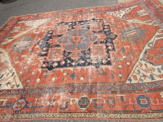 "estate distressed antique serapi rug 9' 5"" x 12' very supple condition as shown no dry rot clean rug worn in places great open design 2700 plus shipping. SOLDDDDDDDDDDDDDDDDDDDDDDDDDDDDDDDDDDDDDDDDD"