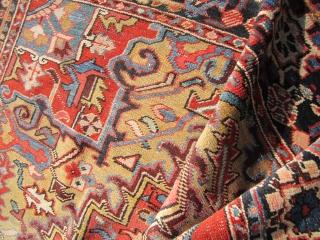 "great colors camel corner heriz rug 7' 3"" x 11' 2' very clean few worn spot as shown nothing major very floppy 1395.00 plus shipping. SOLDDDDDDDDDDDDDDDDDDDDDDDDDDDDDDDD"