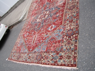 "antique serapi heriz rug 9' 7"" x 12' 7"" worn condition with repair and patch beautiful colors solid rug no dry rot clean no pets and no smoke real deal.