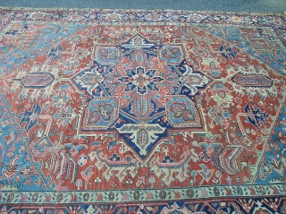 """antique heriz wanted colors great condition some scattered surface wear not worn great pile beautiful solid rug clean ready to be used  measures 8' 9"""" x 11' 5"""". SOLD"""