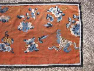 Antique Chinese robe fragment, hand embroidered silk and couched gold metal threads on fine orange silk gauze, from a19thC noble woman's summer informal robe, lotus pad and blossoms, hand of Buddha fruit,  ...
