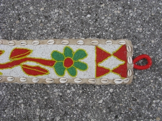 Vintage African beaded banner, hand made by the Yoruba People of Nigeria, polychrome glass beads and cowry shells on fabric, there is a beaded loop at the top for hanging, a diviner's  ...