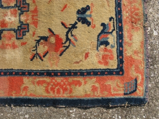 Antique Ningxia rug, mid 19thC, potentially older,very poor condition, but the colors glow, the approximate size is 24 in x 37 in, shipping is extra