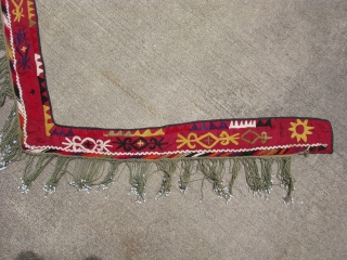 Antique Lakai embroidery, segosh with glass beads, Uzbekistan, early 20th century, the longest arm is about 34 inches long, suzani work, staining and color run, shipping in the US is $8.00