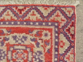 Semi-antique rug, hand knotted wool, Chinese Turkestan, Xinjiang Provence, either Khotan or Yarkand rug, mid 20thC, orange and purple, small square mats like this were probably seating mats, the approximate size is  ...