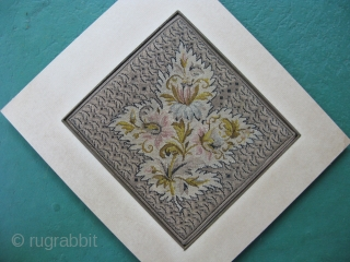 Antique English micro petit point, hand embroidered silk, ca.1860, 5.5x6 inches, an amazing 34 stitches per linear inch, about 1156 stiches per square inch, and approximately 38 thousand stitches to make the  ...