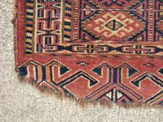 Antique Yomud mafrash fragment, Yomut People, Turkmenistan, 19thC, cute with a line of goats running across the top, the approximate size is 15 inches by 14 inches, I have recently given it  ...