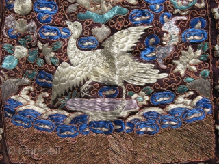 Antique Chinese embroidery purse, made from 2 child's rank badges, buzi, 5th civil rank silver pheasant, several embroidery techniques including feather stitch and couching of metal threads, two hand woven tassels on  ...