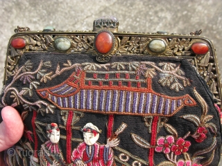 "Antique Chinese purse, early 20thC, late Ch'ing Dynasty, fine silk embroidery with the so called ""forbidden stitch"", 25 stitches per linear inch, an average of 625 stitches per square inch, designs are  ..."
