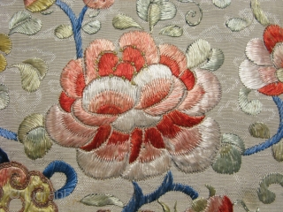 Antique Chinese table runner / alter cloth, hand embroidered silk on beige silk damask with cloud motifs, embroidery techniques include satin stitch, long and short stitch to create color shading, couching of  ...