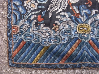 Antique Chinese textile, rank badge, Chinese Mandarin square, Silver Pheasant, 5th Civil rank, hand embroidered silk brick stitch, with couching of gold metal threads around the border, woven in 2 pieces for  ...