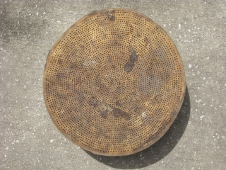 Antique sieve / sifter, hand made, bentwood and pierced hide, Mapuche Indians, Chile, ca. 1900, out of about 850 sieves in the Smithsonian Museum collection, only 2 are made in this same  ...