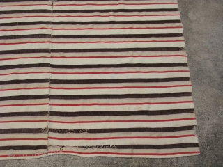 Antique American homespun blanket, hand woven wool, striped design in 5 COLORS, ivory, brown, pale lavender, pale yellow, and red, woven in two 33 inch wide panels and sewn together, hemmed at  ...