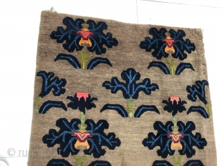 Antique Tibetan rug, good age and conditions. camel color with lotus flowers. Size 174 cm *90cm