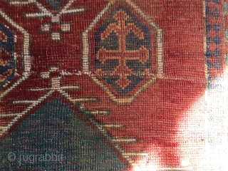 Sweet little Bordjalou. At this size and design it is usually more common to see prayer rugs. Some nice variation in the field. Repaired tear across the Middle. Bit of run on  ...