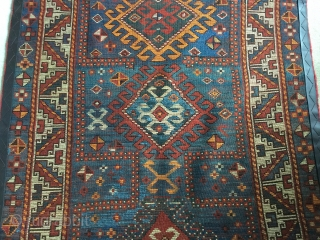 Attractive south Caucasian in good condition. Turn of 19 th , 20 th centuries. Nice prayer niche . Small repiling of blue, otherwise excellent blues and greens and crisp design. Brown leather  ...