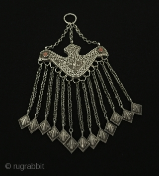 Central-Asia Uzbek ethnic tribal silver tassel pendant with coral double-sided Fine condition ! Circa - 1900 Size - Height : 18 cm - Width : 9 cm - Weight : 77 gr  ...
