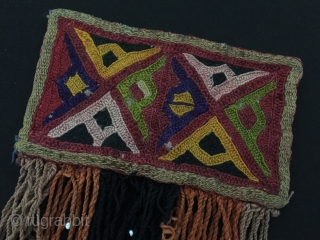 Central-Asia Ethnic Turkmen Lakai tribal silk embroidery Fine condition ! Circa - 1900 Size - Height with tassel : 15 cm - Width : 14 cm Thank you for visiting my rugrabbit  ...