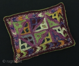 Central-Asia A pair of Turkmen Antique Silk Embroidery Small Textile. Circa - 1900 Size - (10.5 cm x 8 cm) - (10.5 cm x 7.5 cm) Thank you for visiting my rugrabbit  ...