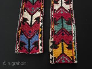 Central-Asian A pair of Antique Uzbek Lakai Silk Cross Stitch. All fine silk cross stitch work on cotton Circa - 1940 -50 Size - ''59 cm x 7.5 cm'' - ''53 cm  ...