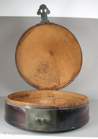 """Chinese Hat Box, Late 19th/Early 20th Century, 10"""" Tall x 12.75"""" Wide, Lacquer on Leather"""