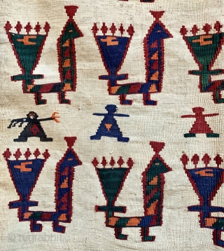 Very unusual antique qashqai kelim with birds alover and some people ca 1920 s size 233 x 166 cm One old repair