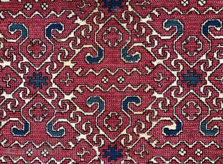 Unusual antique embroidery probably Balkan. Complete piece has been cleaned and backed Size 50 x 32 cm